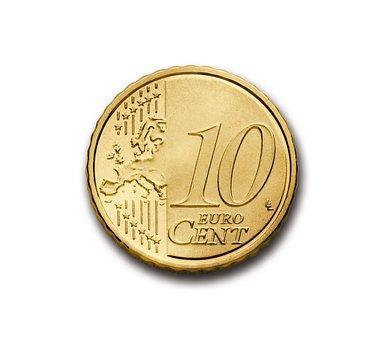 Cent, 10, Euro, Münze, Währung, Europa