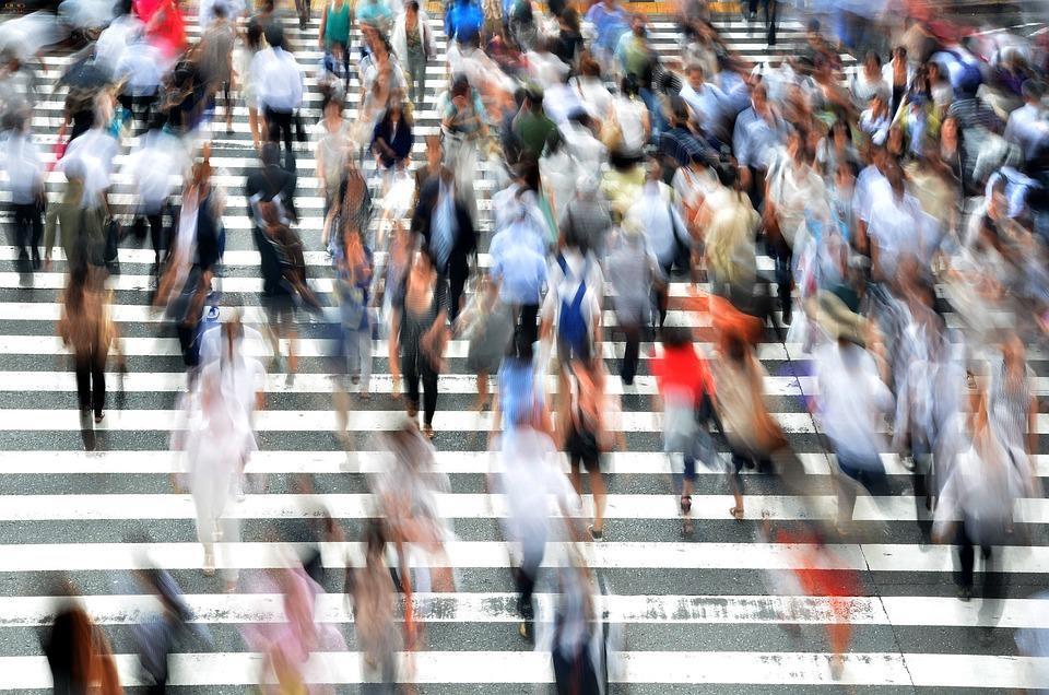 歩行者, 人, 忙しい, 運動, 非常に忙しい, 大阪, 市, 日本, 通り, アジア, 混雑, 交差点