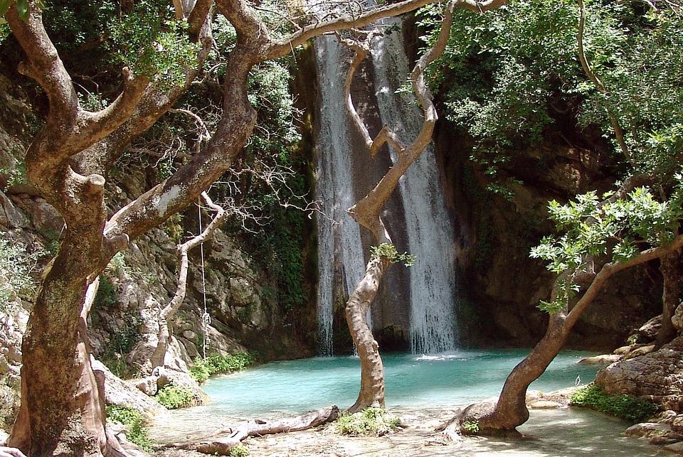 Waterfall, Gorge, Lake, Romantic, Hellas, Greece