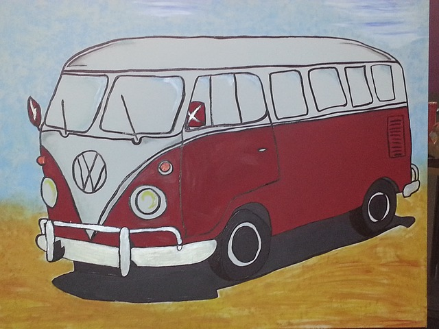 gratis foto auto vw bus kunst schilderij gratis. Black Bedroom Furniture Sets. Home Design Ideas