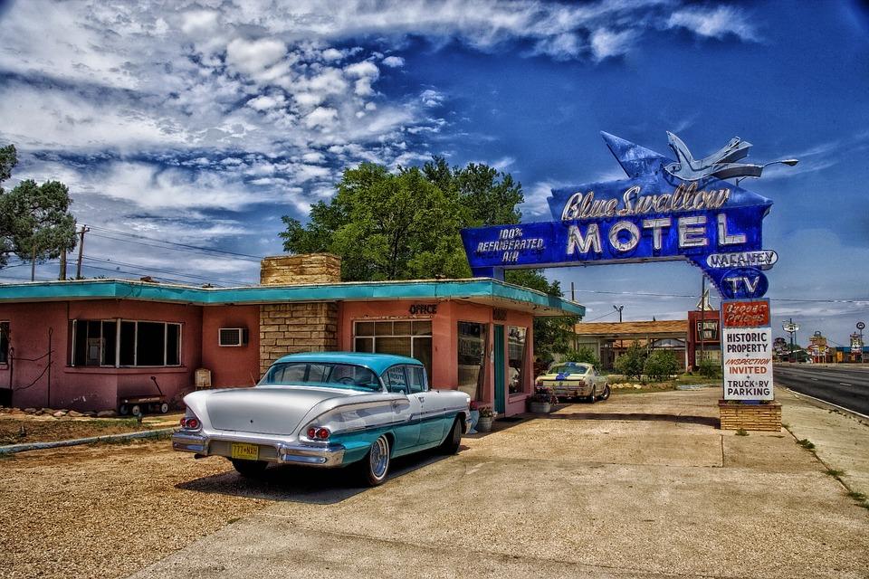 Tucumcari, New Mexico, Motel, Car, Old, Automobile