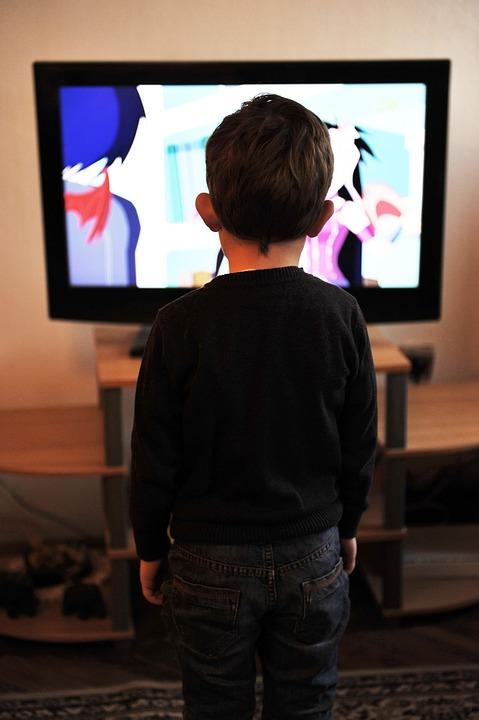 Kinder, Tv, Fernsehen, Home, Menschen, Junge, Familie