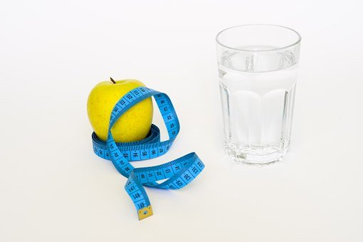 Tape, Apple, Glas, Water, Blue, Diet