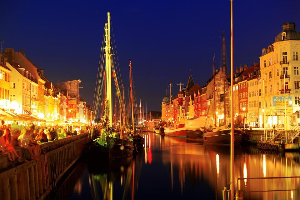 Copenhagen, Night, Lights, Sky, Yellow, Reflection