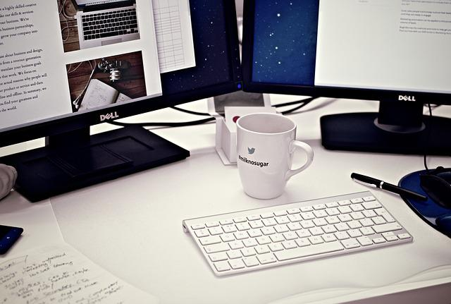 ワークステーション, ホーム オフィス, コンピュータ, コーヒー ・ マグ, カップ, キーボード