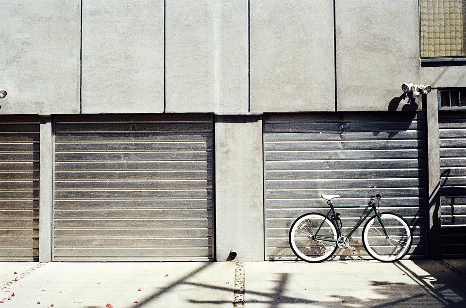 Bike near a metal gate