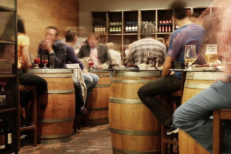 Bar, Pub, Restaurant, Rustic, Barrels, People, Sitting
