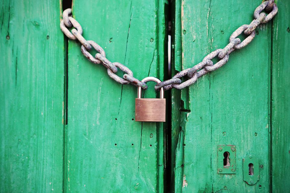 Padlock, Door, Locked, Closed, Protected, Lock, Wooden
