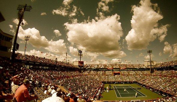 Tennis Court, Tennis, Stadium, Audience