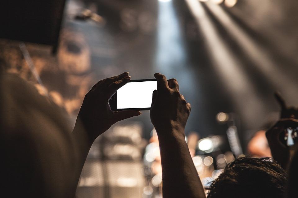 スマート フォン, 映画, 写真を撮る, 視聴者, 写真, 撮影, カメラ, ファン, 手, コンサート