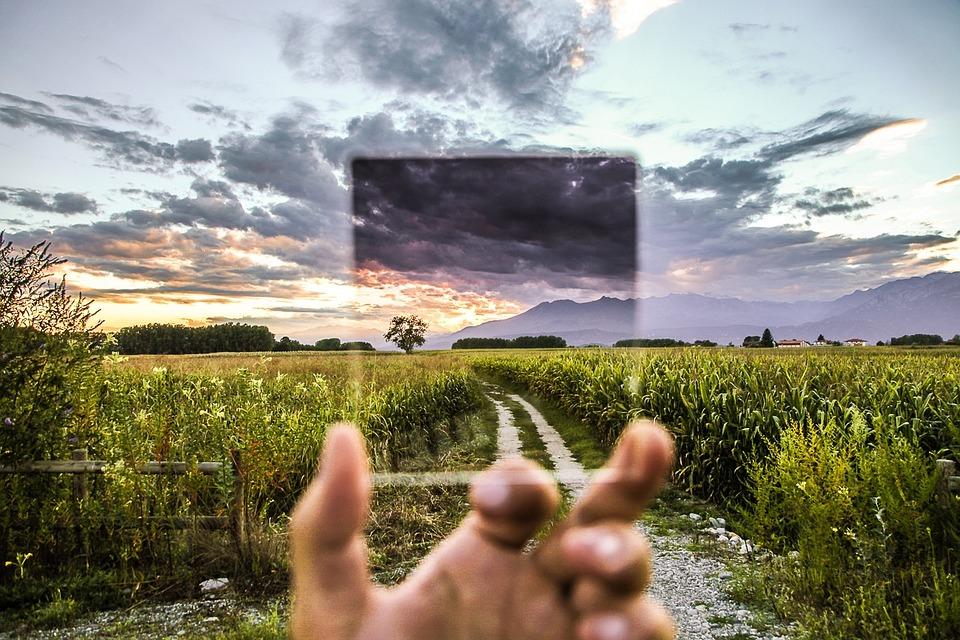 フィルタ, 写真の効果, ガラス, 透明, 風景, 田舎, アウトドア, 手, 効果, 光, ビジョン