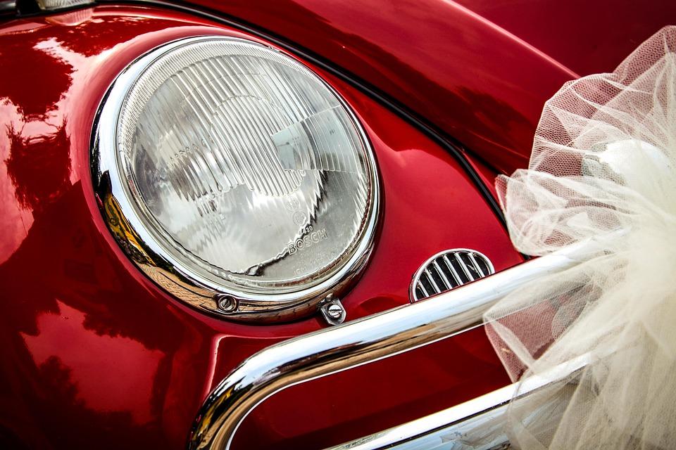 車, Vw ビートル, 赤, モータ, フォルクスワーゲン, 結婚式, ヘッドライト, 祝賀会, 祝賀, 結婚