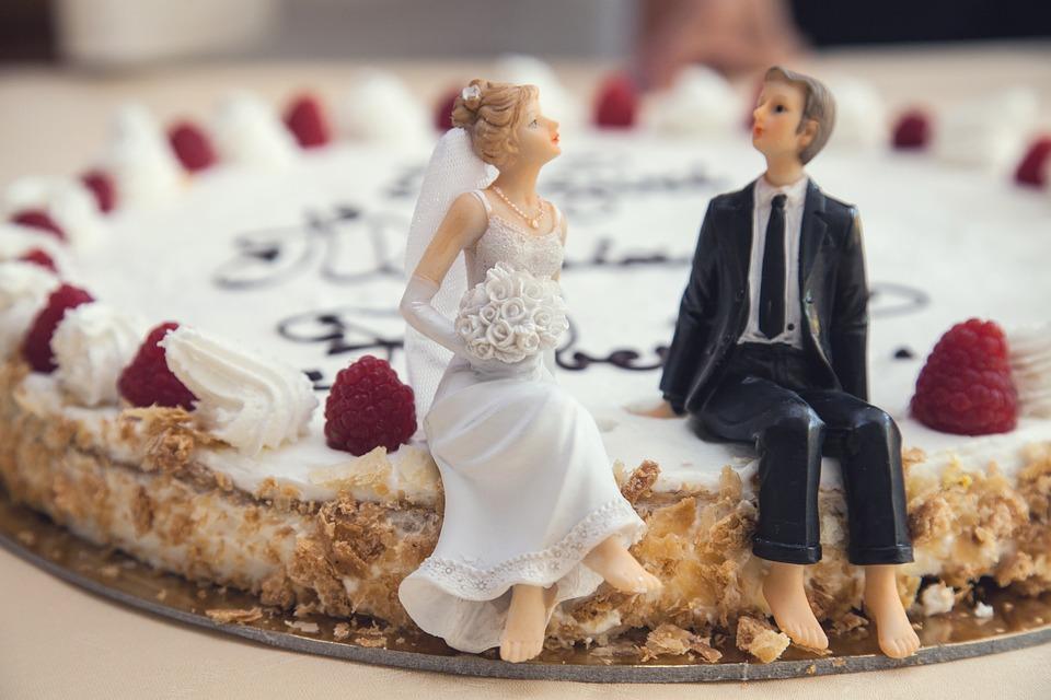 Hochzeitstorte, Braut, Bräutigam, Mann, Frau, Kuchen