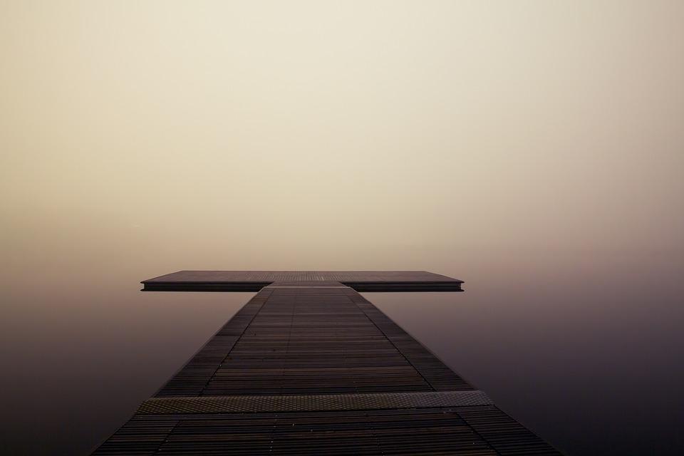 Pier, Di Legno, Lago, Ocean, Mare, Tranquillo, Nebbia