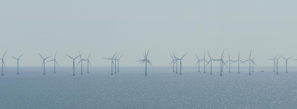 Windräder, Windpark, See, Energie, Windenergie