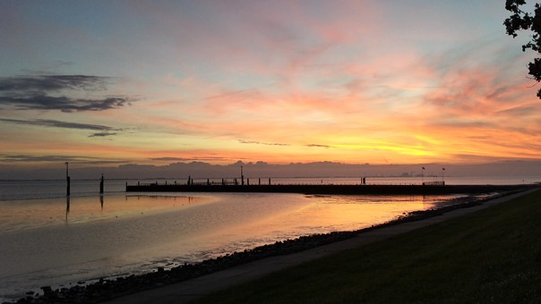 Emden, Coast, Holland, Sunset, Horizon