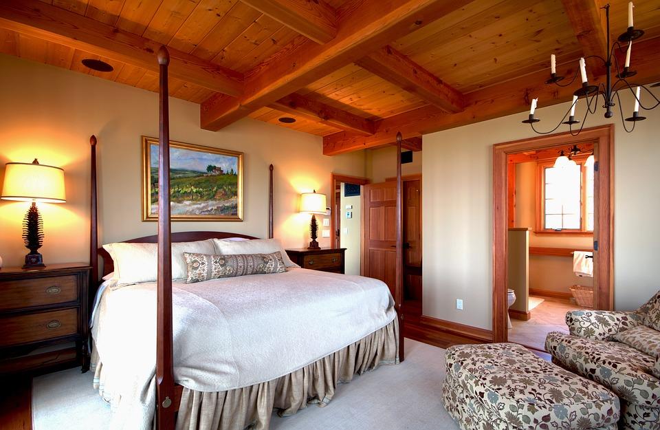 Schlafzimmer Bett Himmelbett Innenraum Zimmer Home