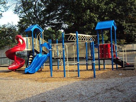Playground, Slide, Park, Childhood