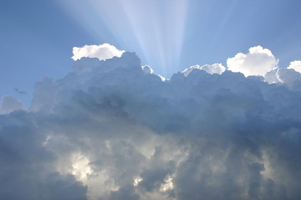 空, 雲, 太陽の光線, 天気予報, 曇った, 雰囲気, 空気