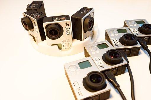 カメラ, ヘルメット カメラ, プロ行く, 充電, 準備, パノラマ