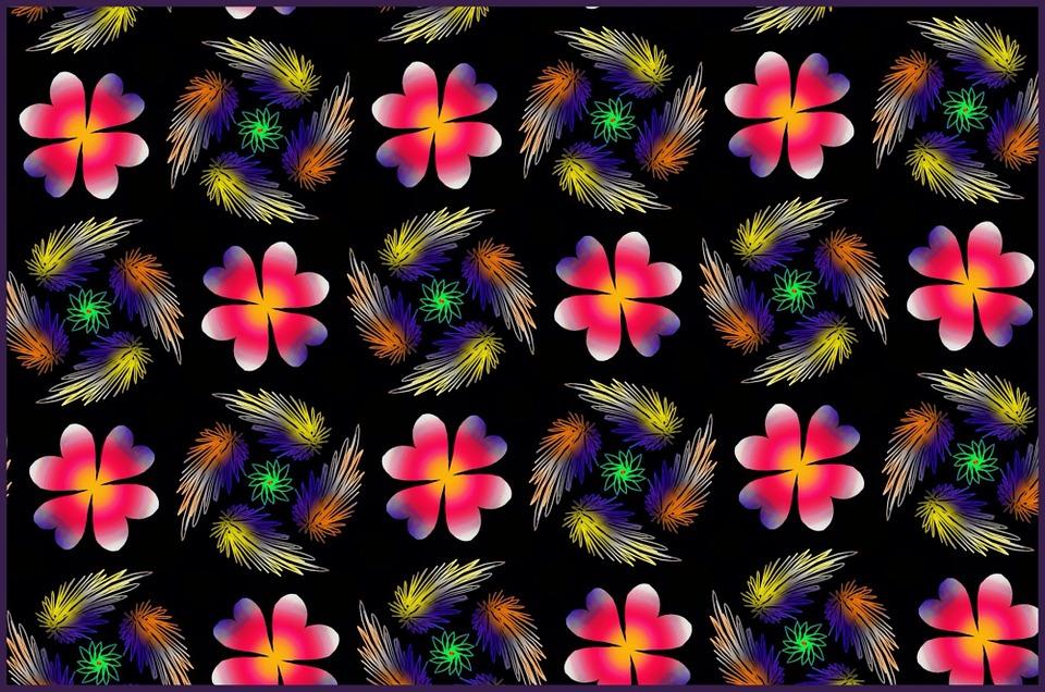 Flores Horizontales Dibujos Animados Patrón De Fondo: 무료 일러스트: 무늬, 꽃, 벽지, 배경, 빨강