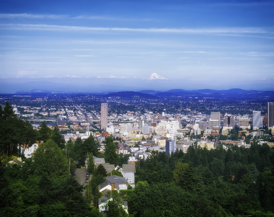Portland, Oregon, Cityscape, City, Cities, Urban, Trees