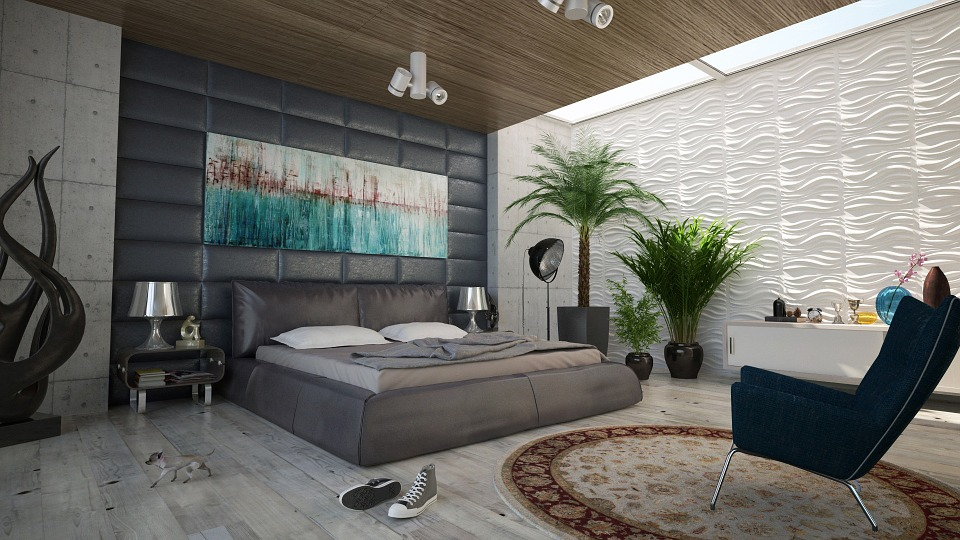 Bedroom, Bed, Wall, Decoration, Design