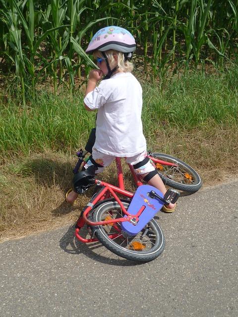 Free photo: Child, Bicycle Helmet, Bike, Fall