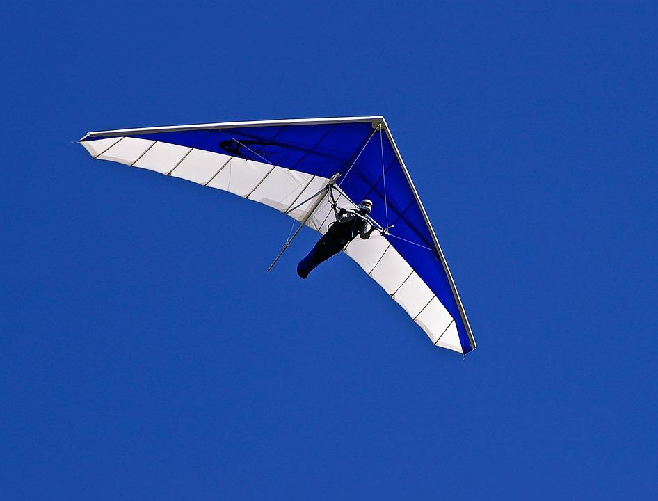 グライダー, ハング, パイロット, 飛行, 滑空, 青と白, 青, 空, スポーツ