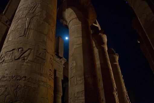 Columns, Egypt, Karnak, Nighttime, Moon