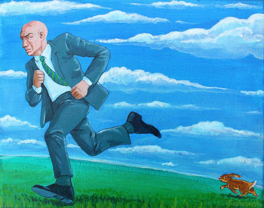 Cartoon People Running Away In Fear