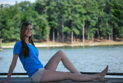 Girl, Sitting, Happy, Pretty, Dock