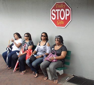 Women Wait Stop Sit Human Bus Stop Waiting