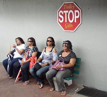 Women Wait Stop Sit Human Bus Stop Waiting