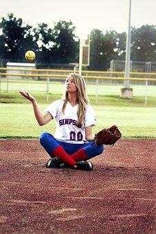 Softball, Girl, Young, Sitting, Outdoors