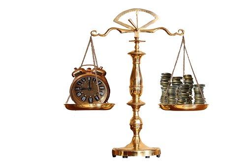 正義, スケール, バランス, 弁護士, 下の料金, お金, 時間, 高価な