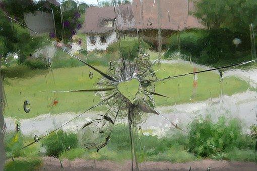 Glass, Heart, Window, Shot, Hole, Bullet