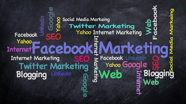 Facebook Marketing written in blue ona black background with other words in dfferent colors