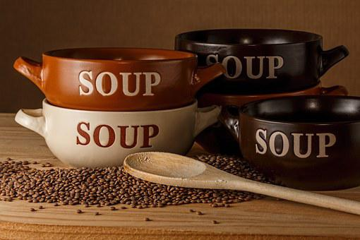 スープ ボウル, レンズ豆のスープ, ボウル, スープ, 木製スプーン, 食品