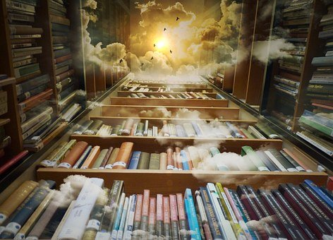 Library, Sky, Birds, Mystical, Clouds