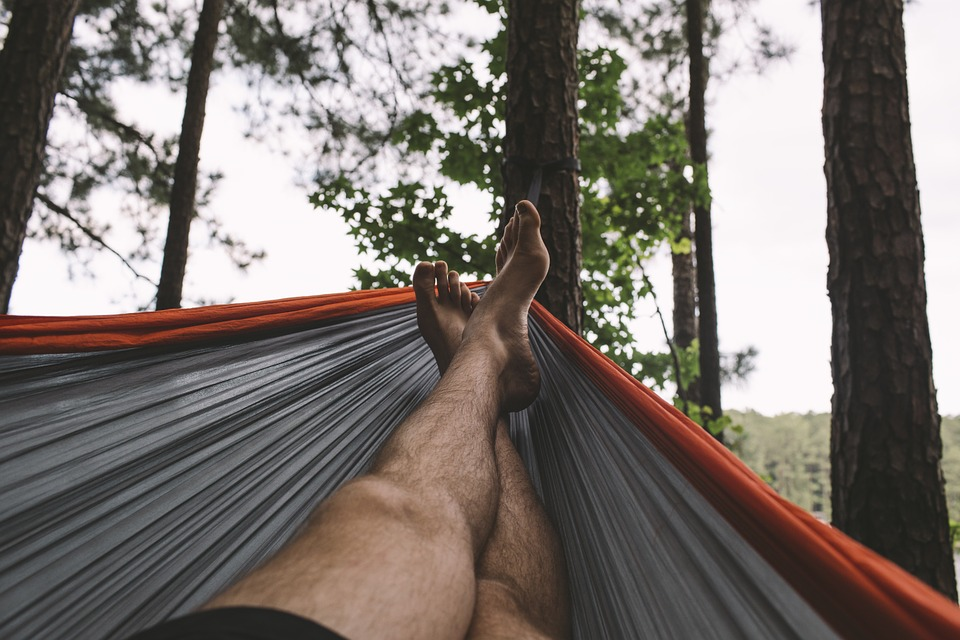 Hamac, Homme, Pied, Repos, Forêt