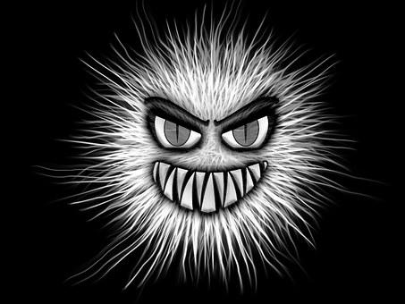 モンスター, 白黒, 目, 積極的です, 牙, 悪魔のような, 歯, 悪, 共通