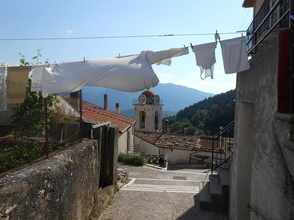 Village, Alley, Road, Italian, Church, Steeple, Laundry