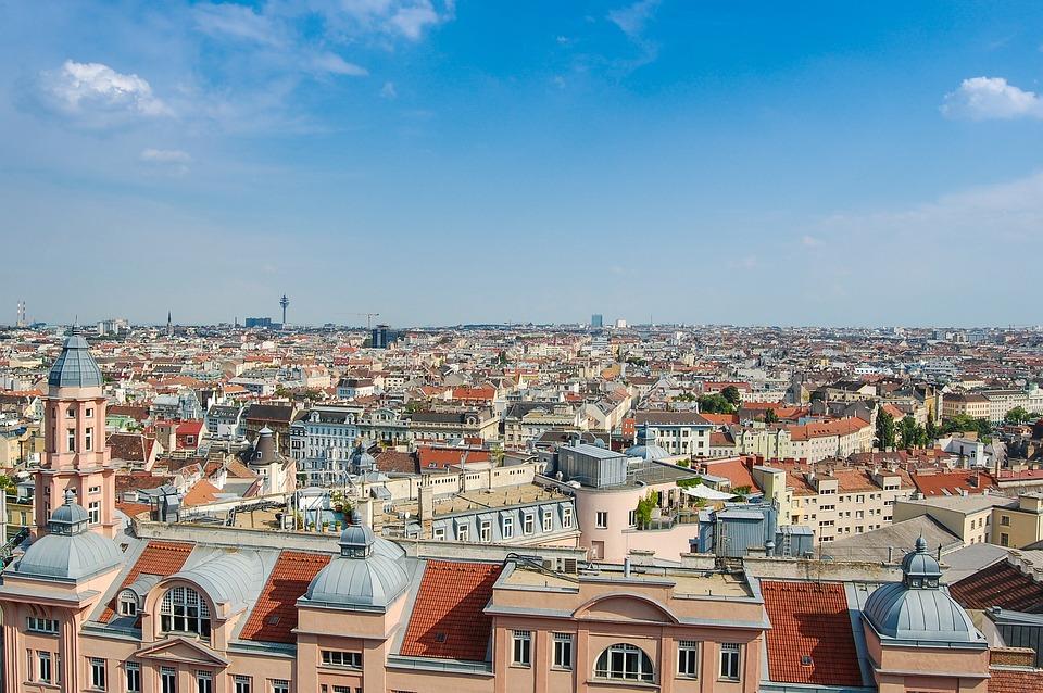 Panorama, Wiedeń, Austria, Miasto, Widok, Budowla