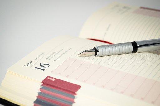 ノートブック, 万年筆, ペン, ノート, 書きます, オフィス, カレンダー