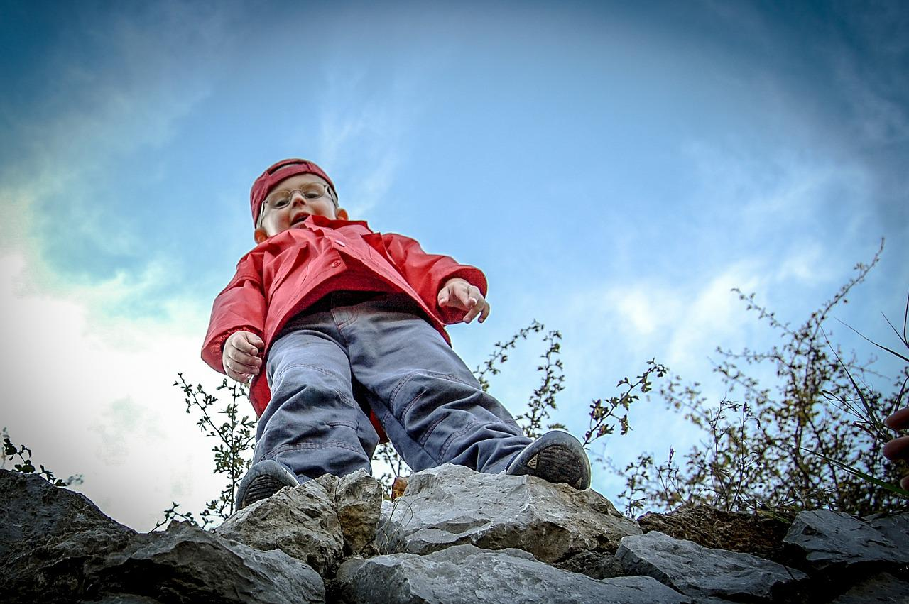Boy, The Height Of The, Mountains, Rocks, Child, Small