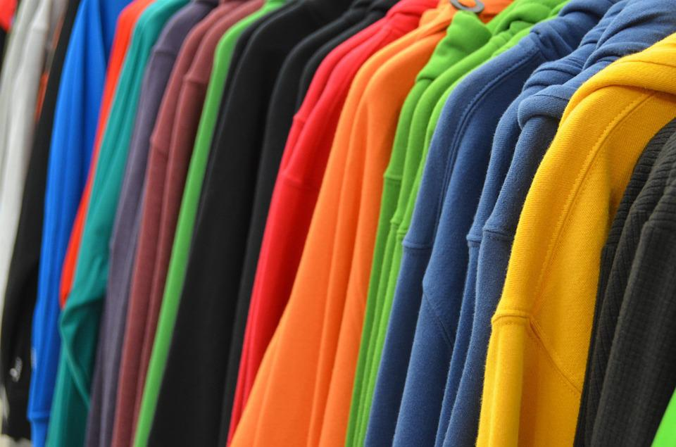 スウェット, セーター, 展覧会, ショップ, ショッピング, 棚, 買う, ビジネス, 衣類, 服