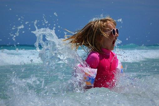 Child, Girl, Sea, Waves, Fun, Ocean