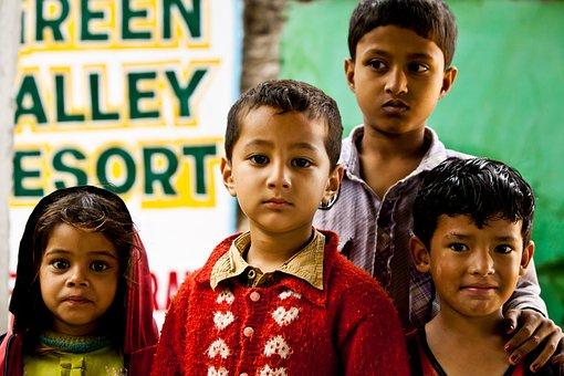 儿童, 女孩, 男孩, 男子, 印度, 尼泊尔, 集团, 人