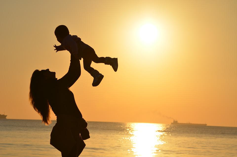 Mother, Daughter, Love, Sunset, Mar, Ocean